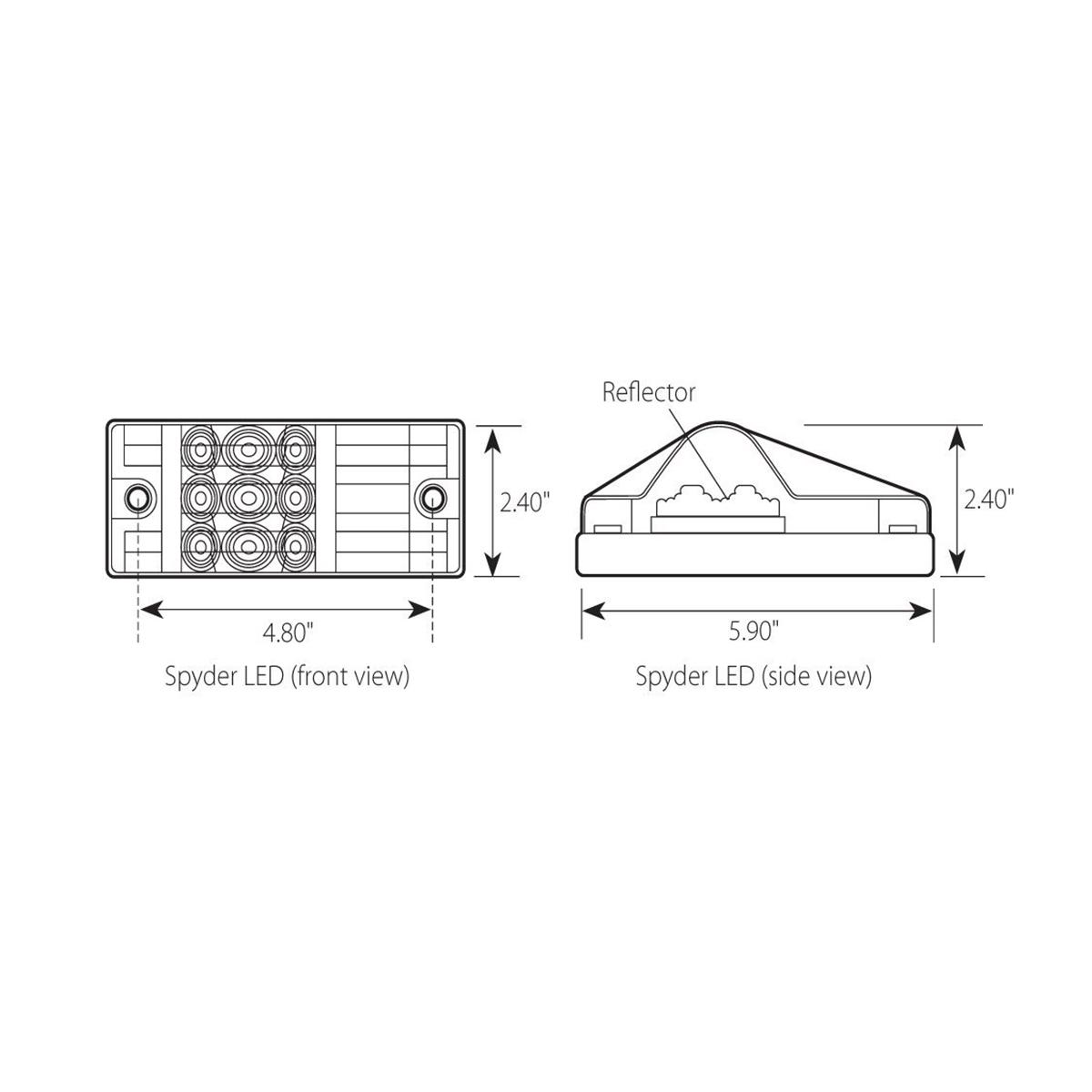 Rectangular Side Mount Spyder LED Turn/Marker Light