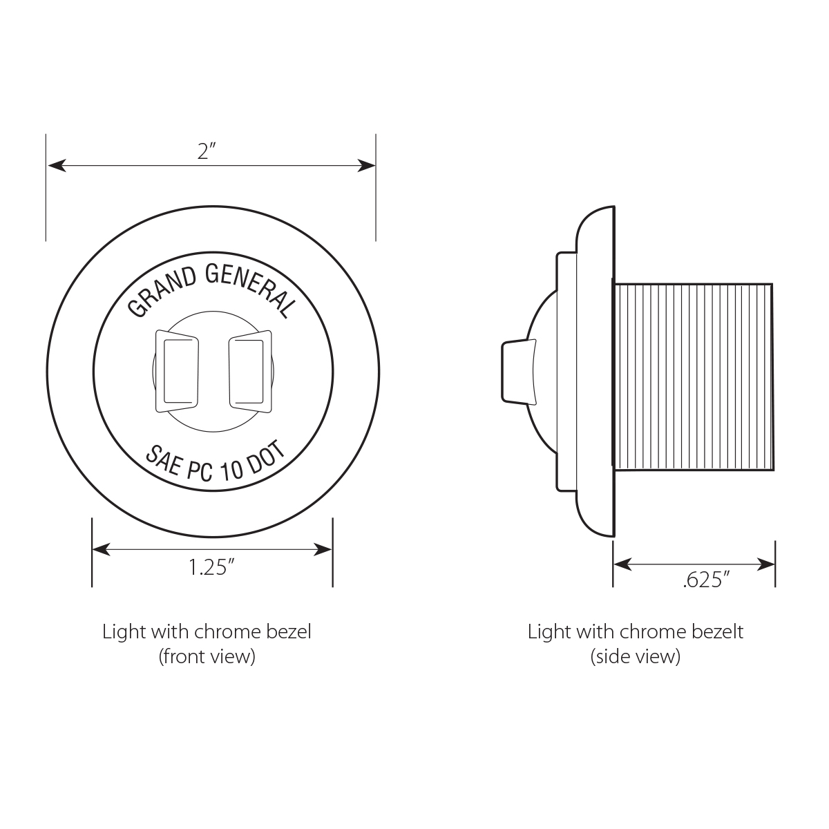 1-1/4″ Dia. Dual Function LED Light with Chrome Plastic
