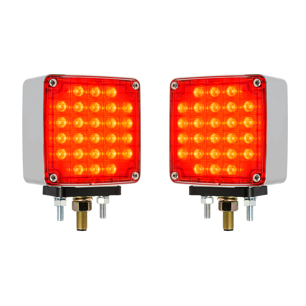 74714 Square Double Face Smart Dynamic LED Pedestal Light in Color Lens, Twin Pack