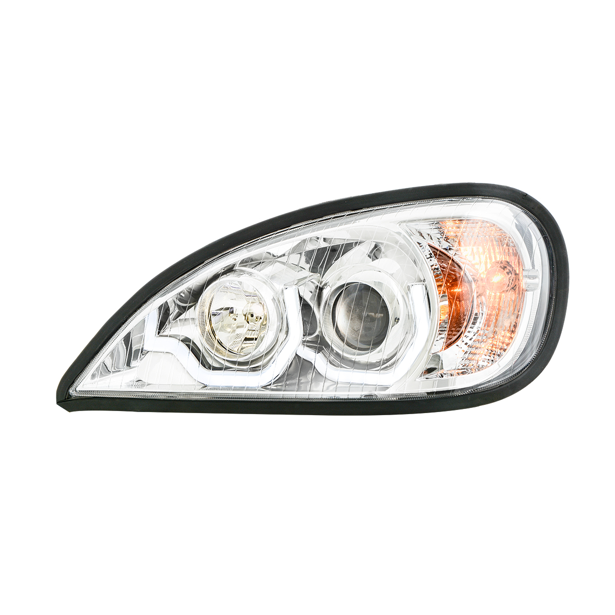 Freightliner Columbia Chrome Projector Headlight w/ White LED Running Light