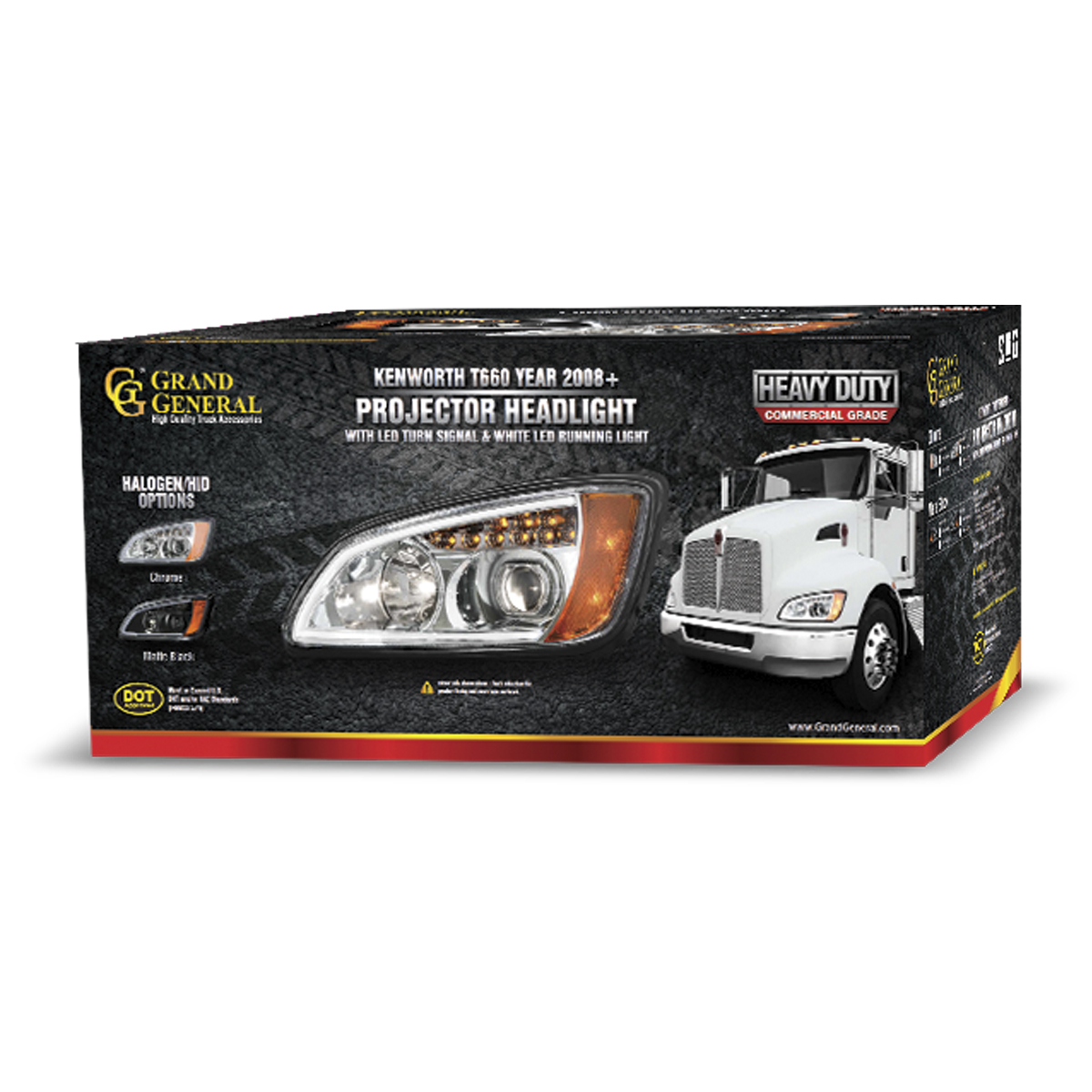 Kenworth T660 Chrome Projection Headlight w/ LED Turn Signal & White LED Running Light