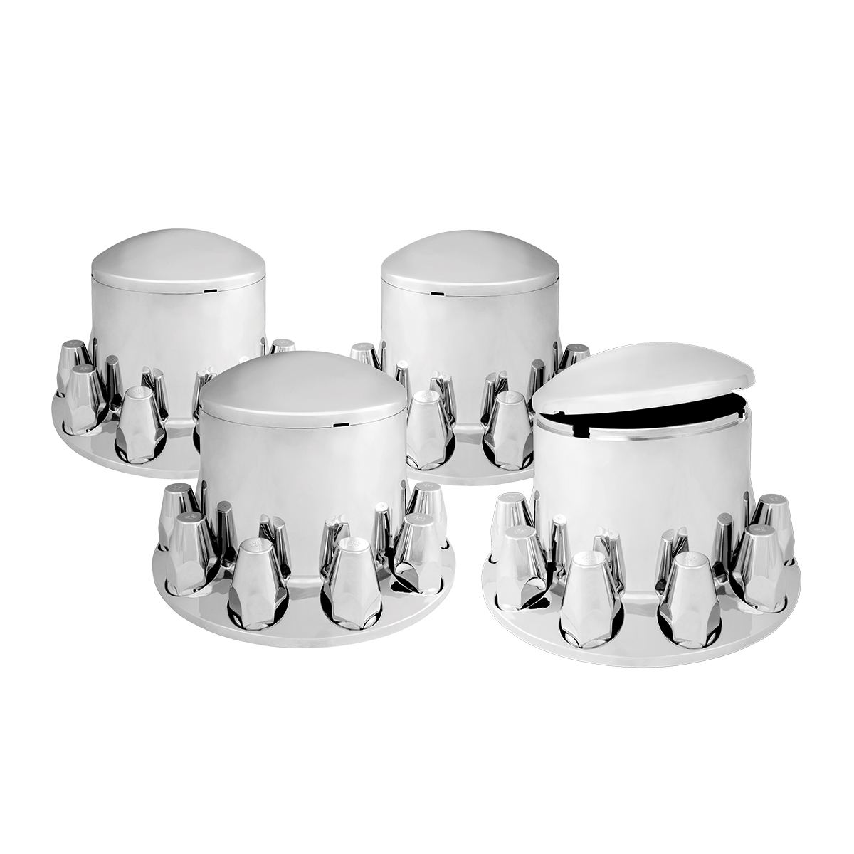 40244 Chrome Plastic Rear Axle Cover Set with Round Hub Caps