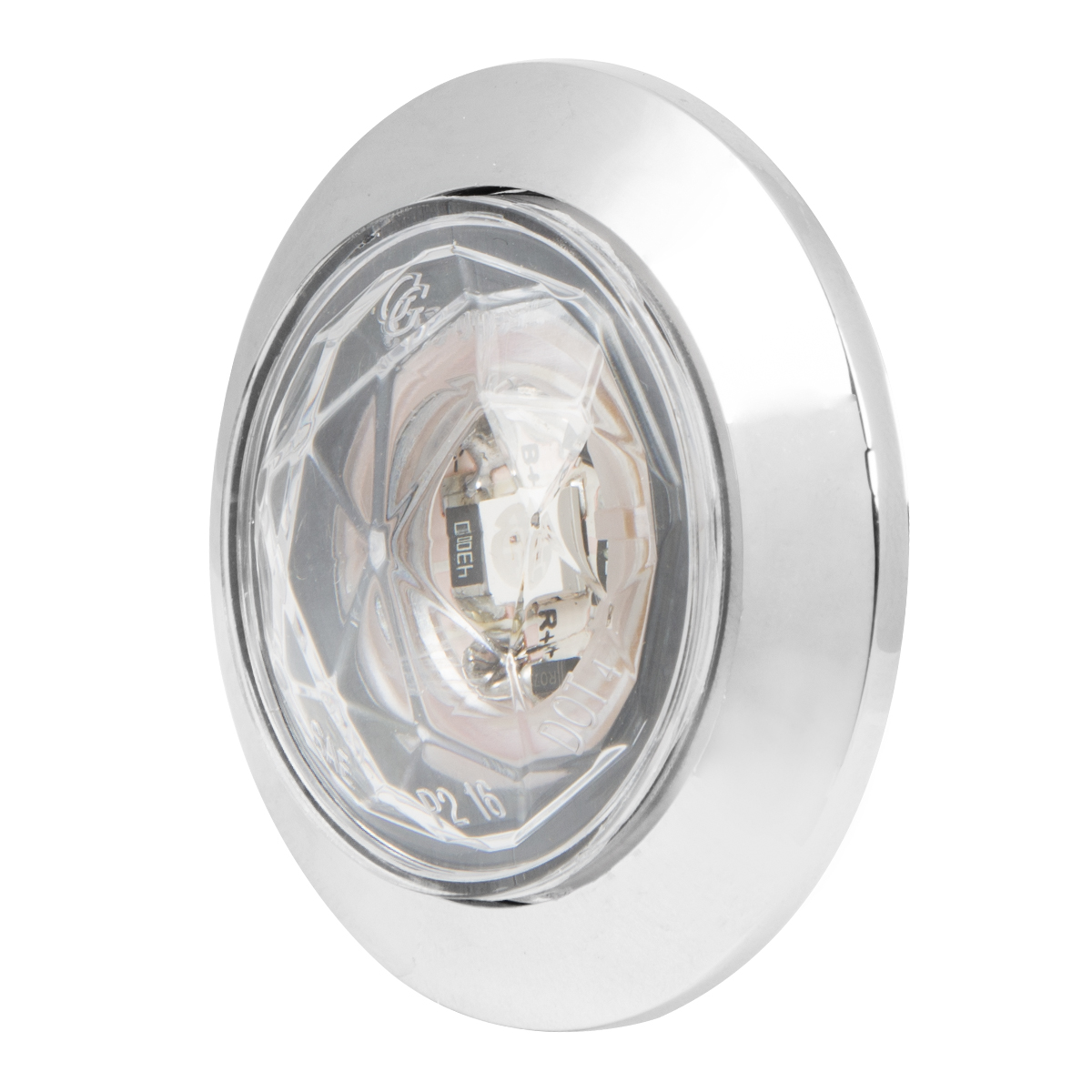 "1"" Dia. Dual Function Diamond Lens LED Light with Chrome Plastic Bezel"