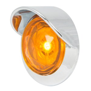 1″ Dia. Dual Function Diamond Lens LED Light with Chrome Plastic Bezel w/ Visor and Nut