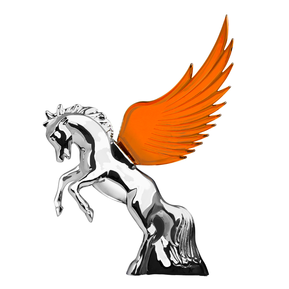 48390 WindRider Chrome Fighting Stallion Hood Ornament