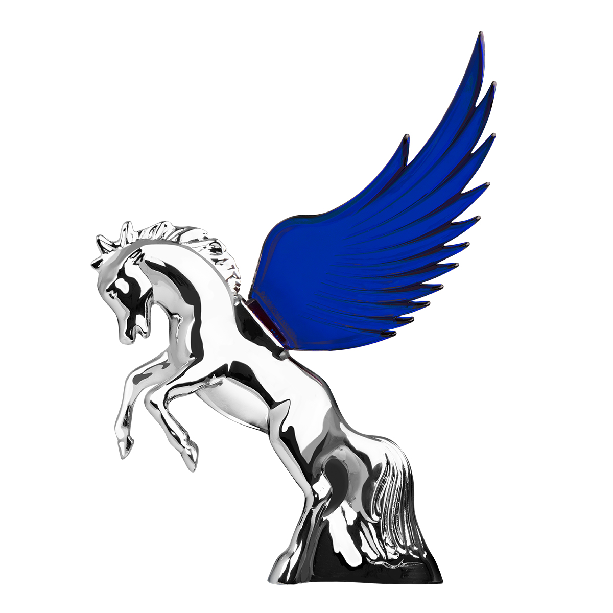 48391 WindRider Chrome Fighting Stallion Hood Ornament