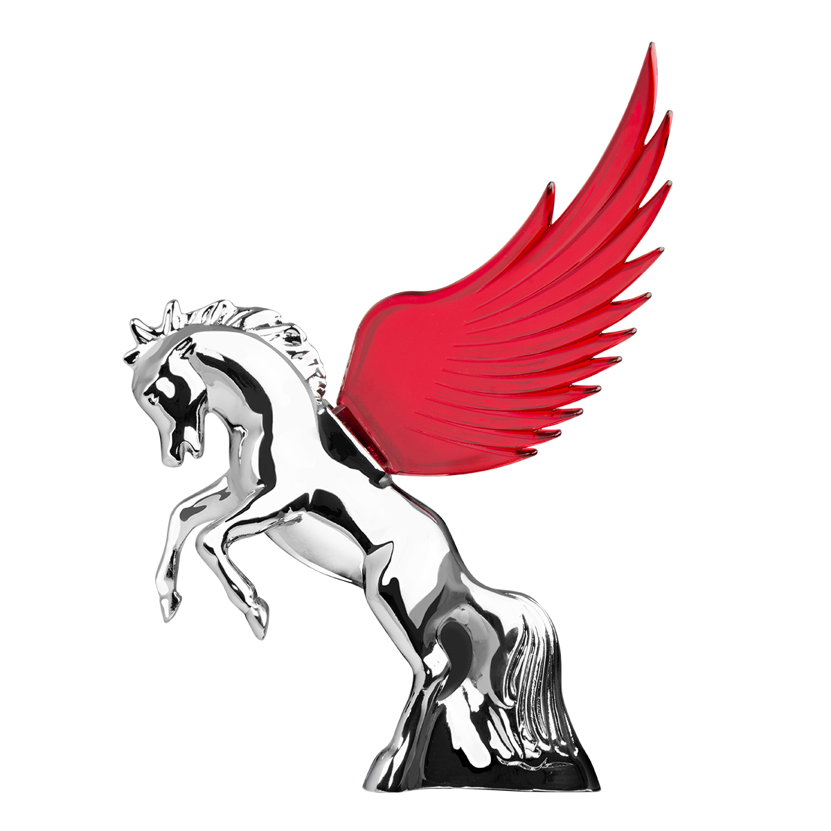 48393 WindRider Chrome Fighting Stallion Hood Ornament
