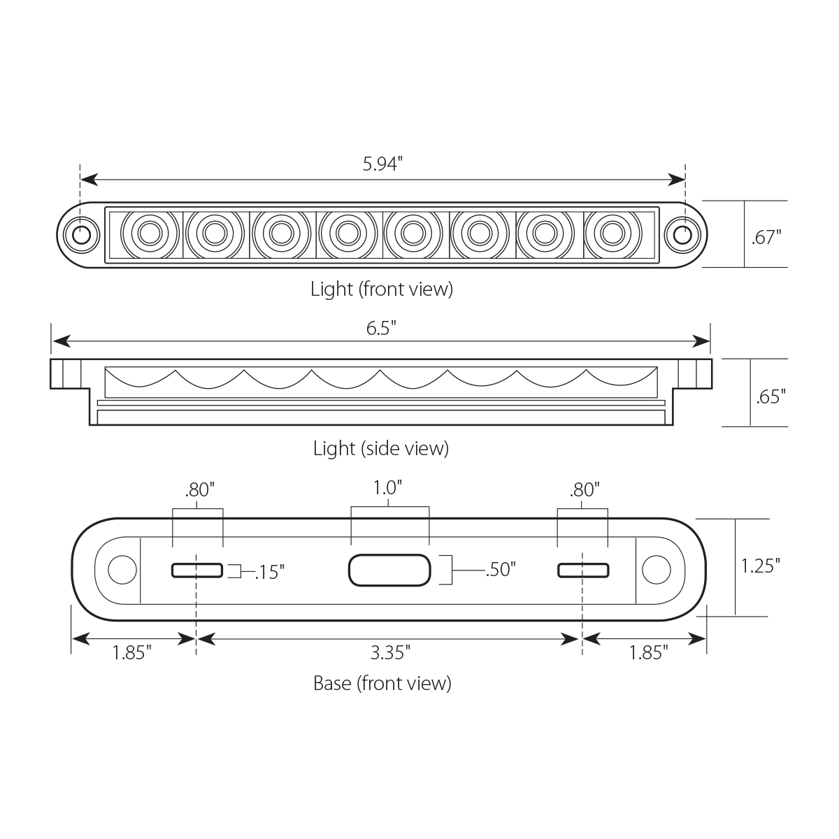 "6.5"" Surface Mount Pearl Marker & Turn LED Light Bar"