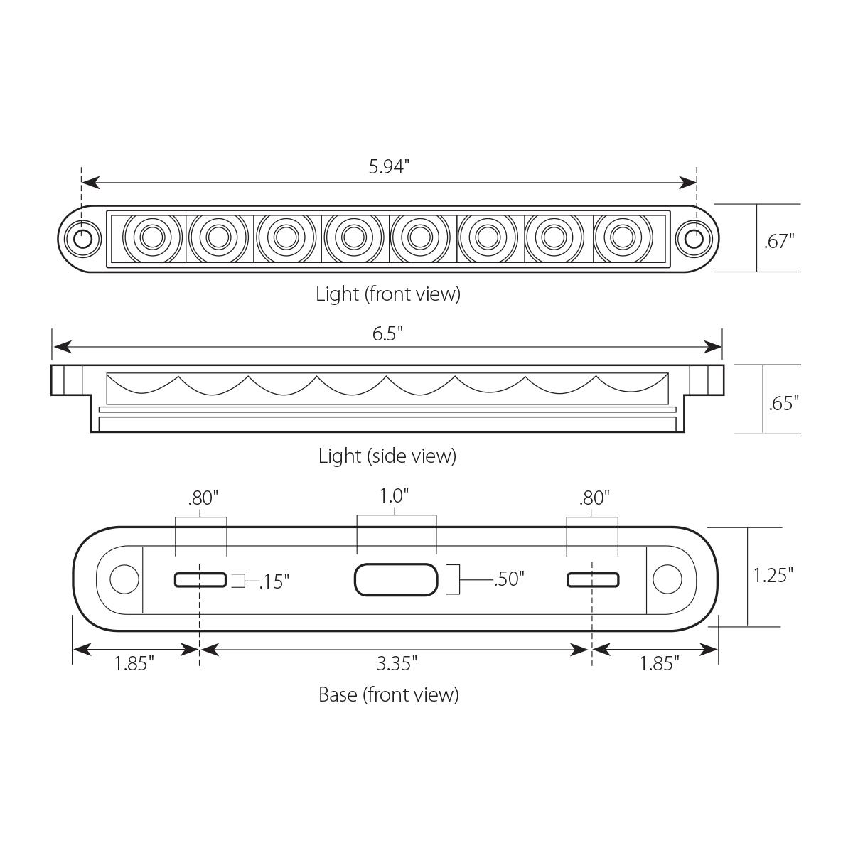 """6.5"""" Flush Mount Pearl Marker & Turn LED Light Bar"""