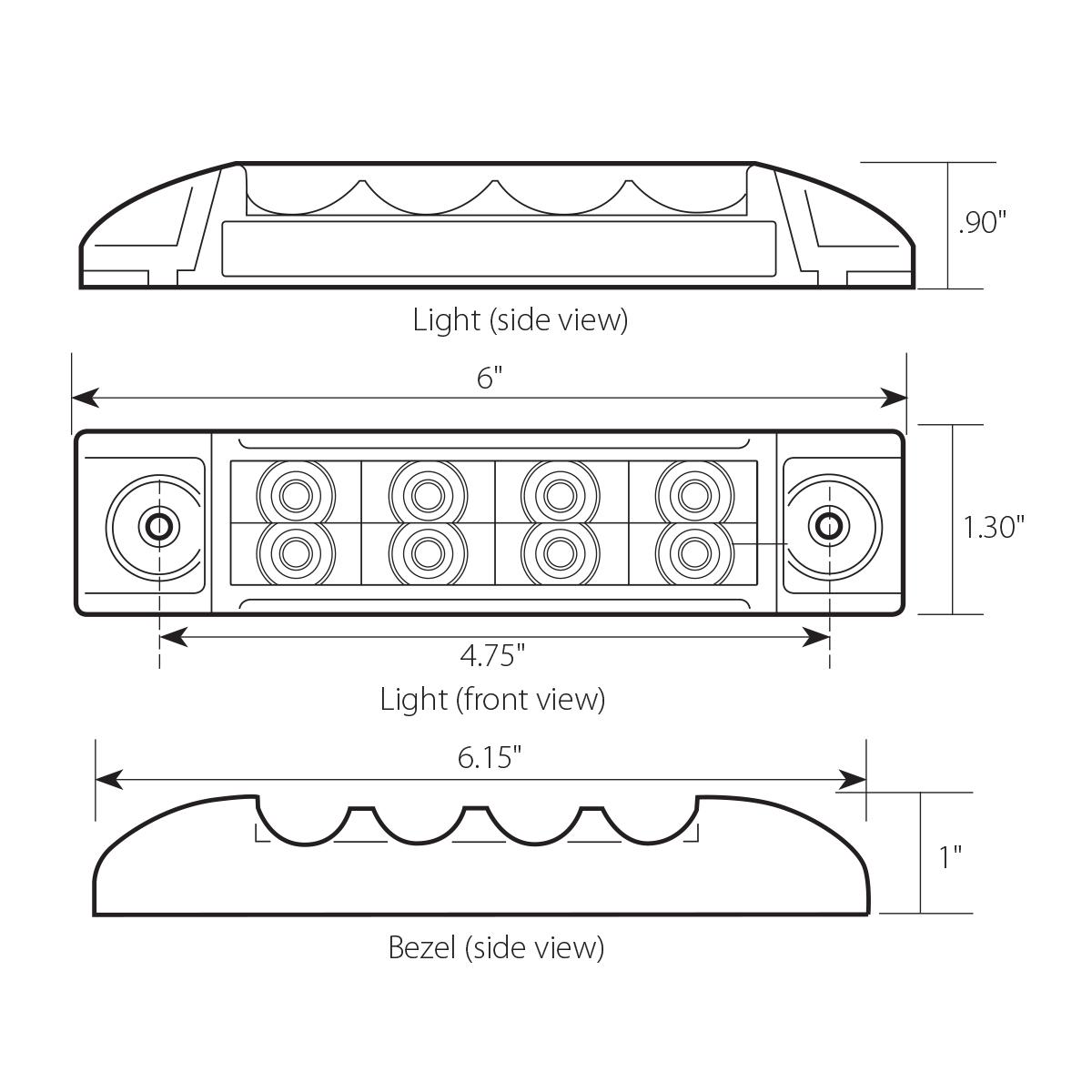 """6"""" Rectangular Surface Mount Pearl Marker & Turn LED Light"""