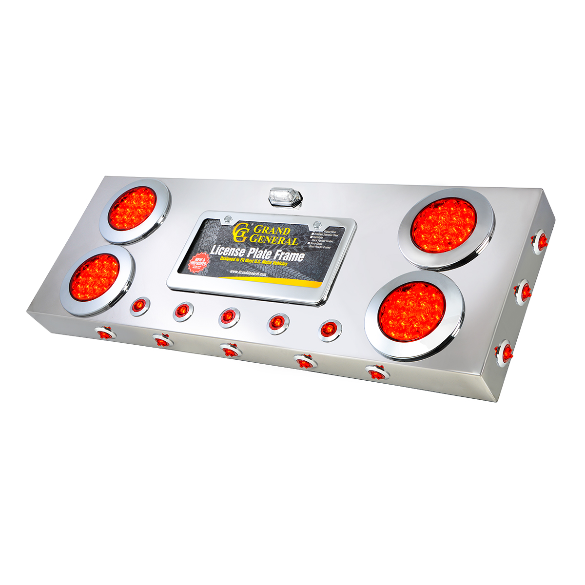 """91302 Stainless Steel Rear Center Light Panel with 4"""" & 1"""" Dual Function LEDs, License Plate and Under Glow Effect"""
