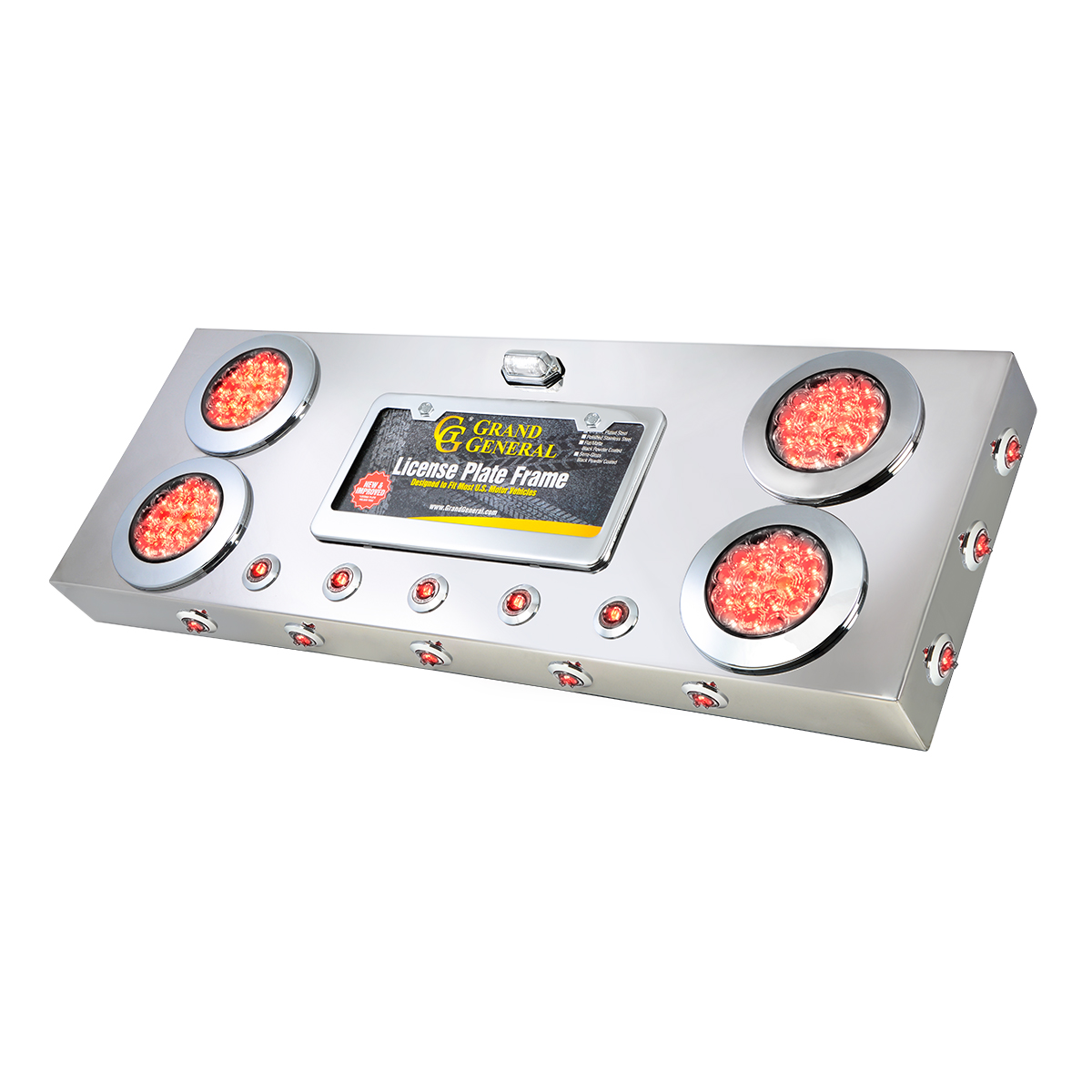 """91303 Stainless Steel Rear Center Light Panel with 4"""" & 1"""" Dual Function LEDs, License Plate and Under Glow Effect"""