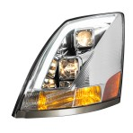 Volvo VN/VNL Chrome Projector Headlight w/White High Power LED Position/Daytime Running Light