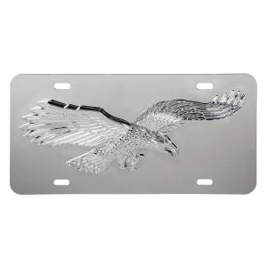 Stainless Steel License Plate with 3D Flying Eagle Emblem