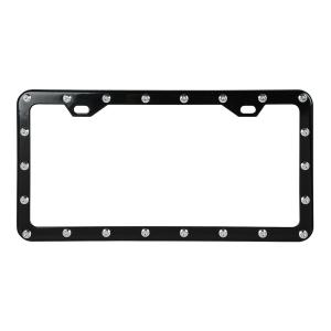 Black Steel With Chrome Rivets License Plate Frame