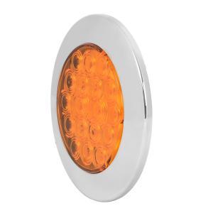 "75870 4"" Fleet Flange Mount LED Light with Chrome Twist & Lock Bezel in Standard 3-Prong"