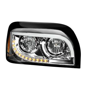 Freightliner Century Chrome Headlight w/White High Power LED Position/Daytime Running and Turn Signal Light