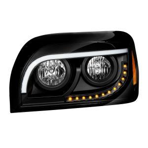 Freightliner Century Matte Black Headlight w/White High Power LED Position/Daytime Running and Turn Signal Light