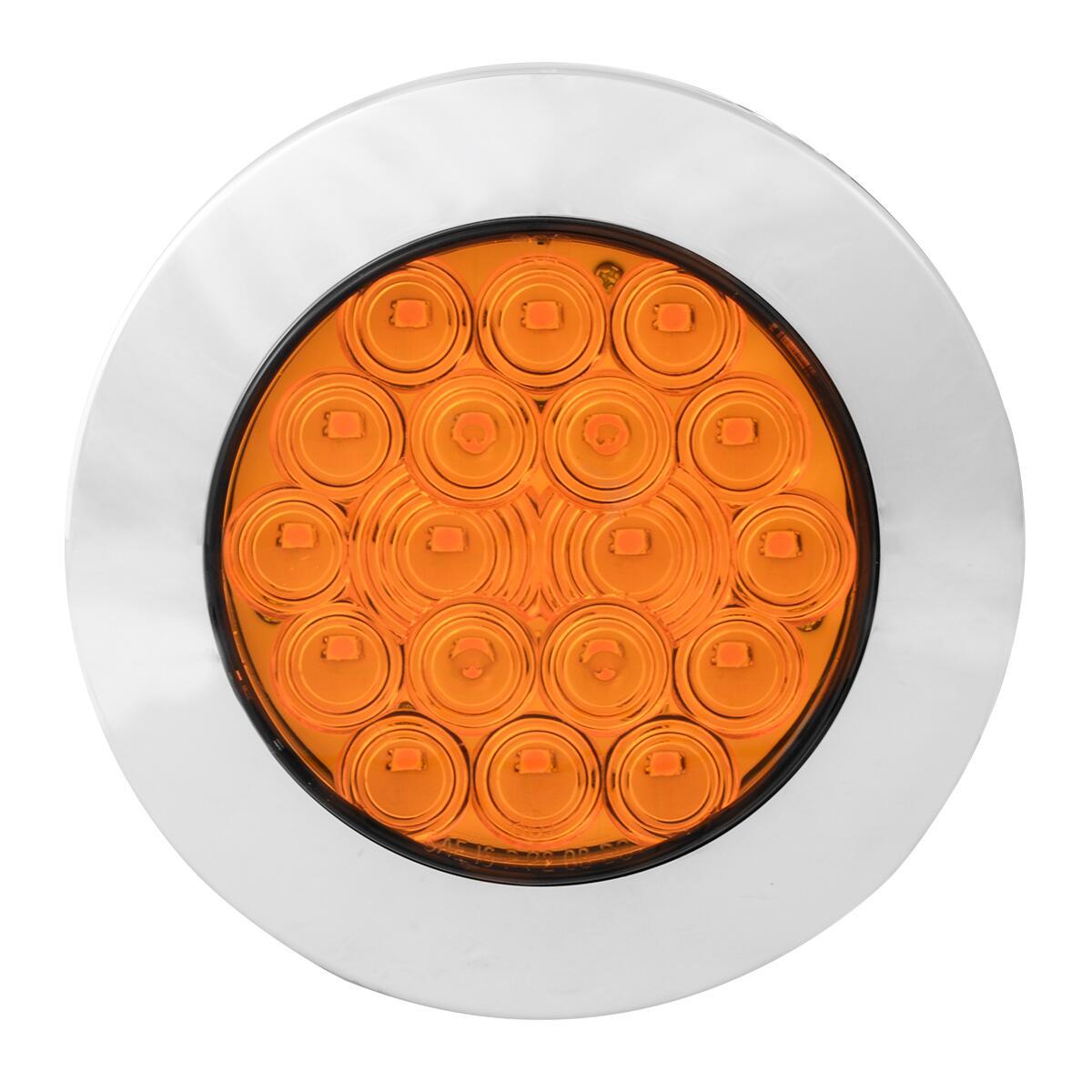 "75900 Amber/Amber 4"" Fleet Flange Mount LED Light with Chrome Twist & Lock Bezel"