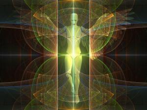 Un ange avec ses différents auras