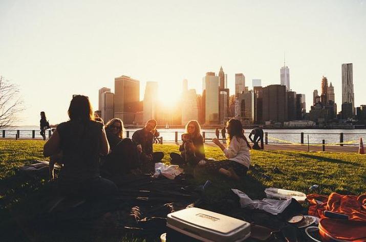 Groupe d'amis partageant un picnic au soleil en exerçant leur sociabilité
