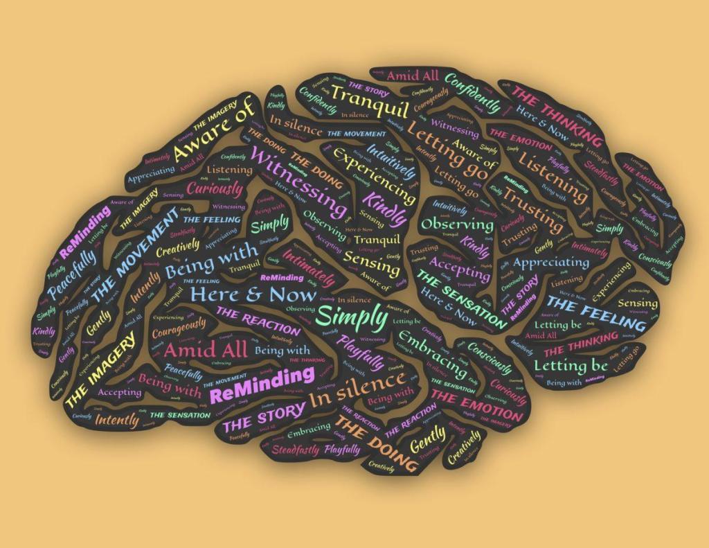 Un cerveau humain avec de nombreux mots