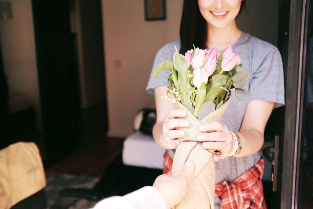 Rencontre autour d'un bouquet de fleur