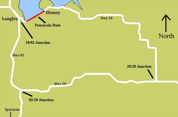 Alternate routes around Pensacola Dam