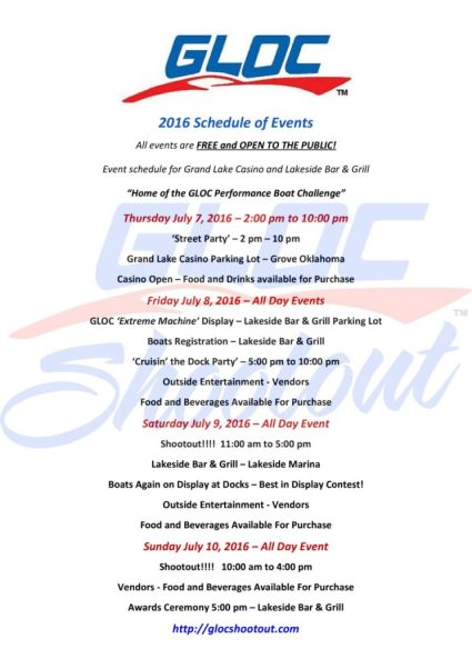 2016 GLOC Shootout Schedule of Events
