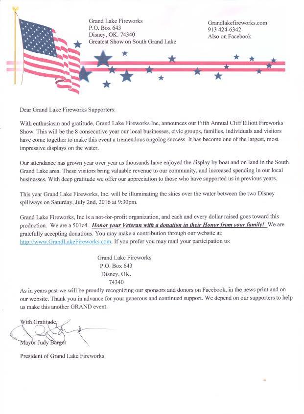 2016 Grand Lake Fireworks Donation Letter