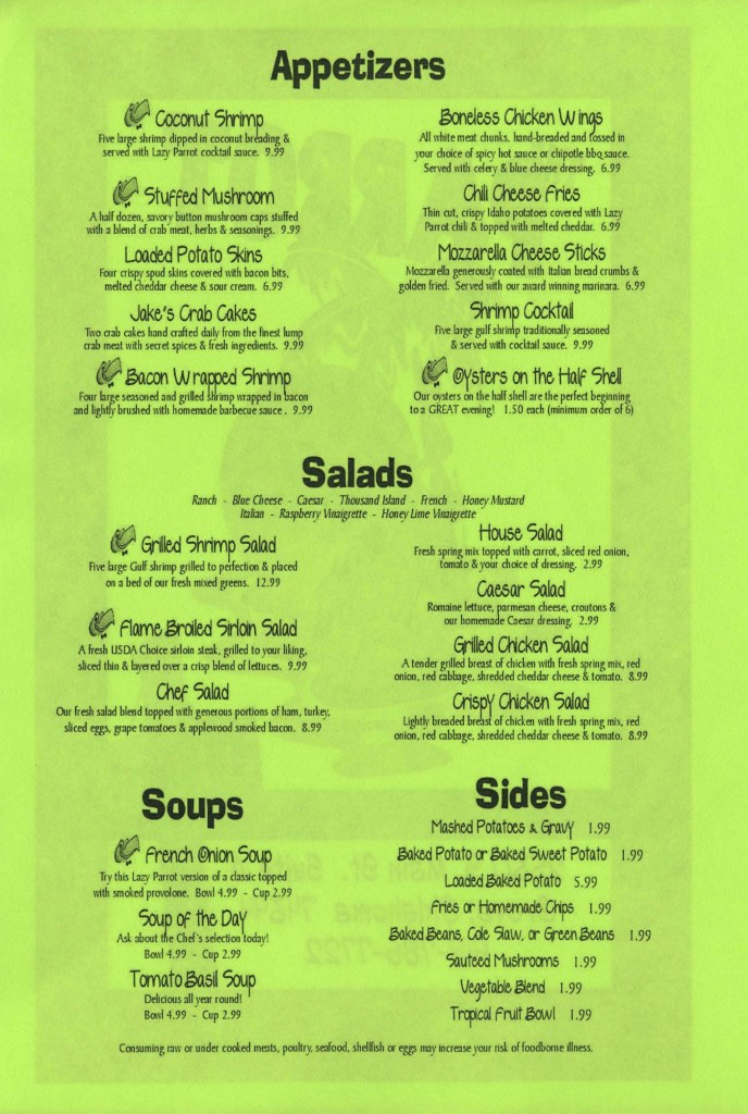 Parrot Menu Appetizers and Salads