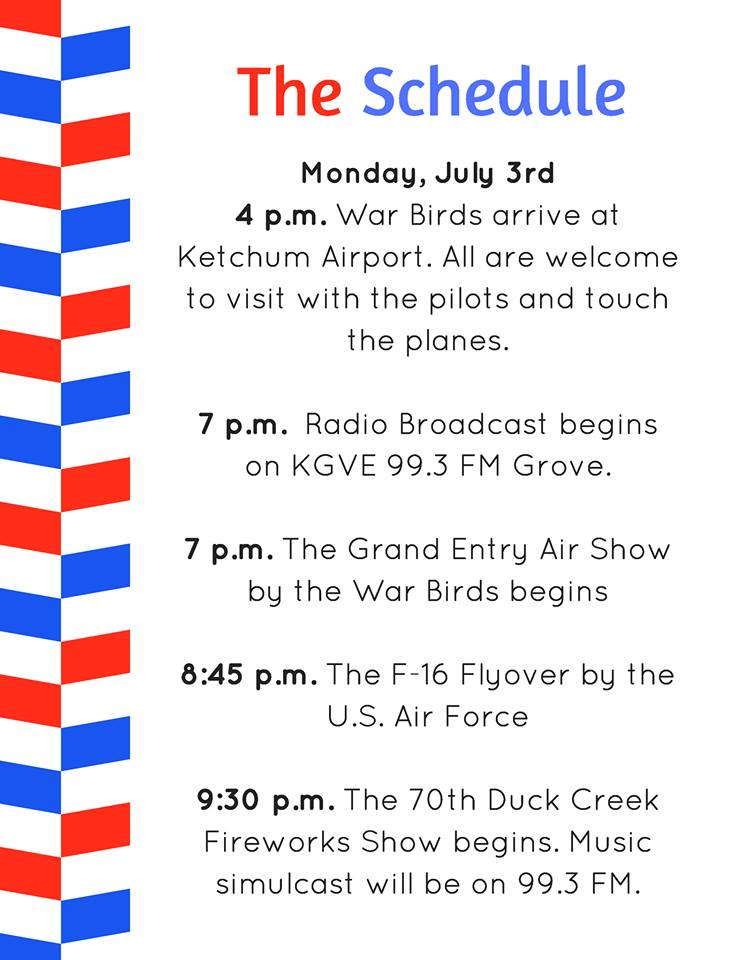 2017 Duck Creek Fireworks Schedule of Events