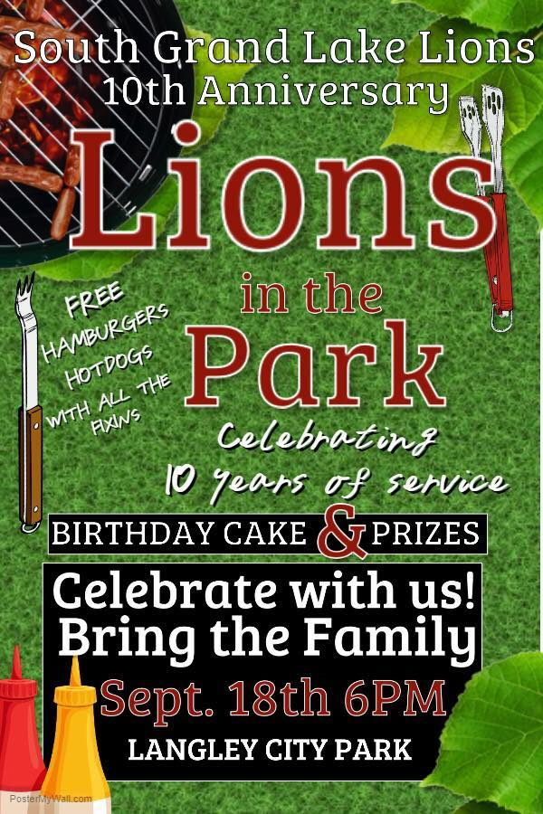 South Grand Lake Lions in the Park