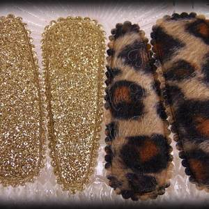 50mm Snap Clippies Cheetah Brown Glitter Gold Pairs