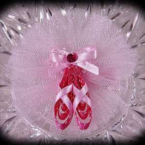 Ballerina Slippers Ribbon Sculpture Hot Pink Pink
