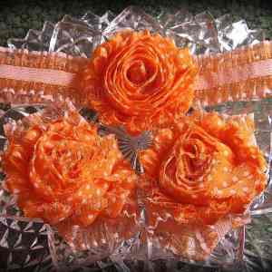 Barefoot Sandals Matching Headband Orange Polka Dot Shabby Chic Flower