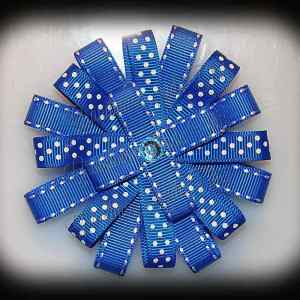 Blue Side Stitch Polka Dot Loopy Flower Hair Bow