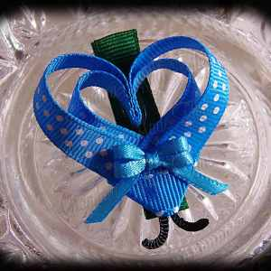Blue White Polka Dot Lovebug Heart Ribbon Sculpture Hairclip