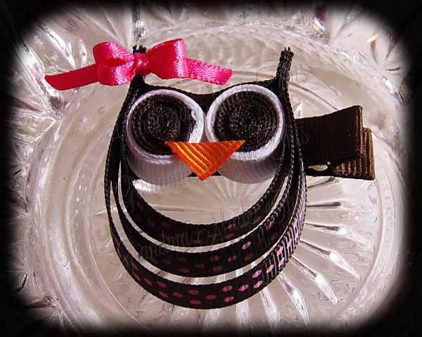 Brown Pink Polka Dot Pink Bow Ribbon Sculpture Owl