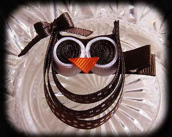Brown White Polka Dot Brown Bow Ribbon Sculpture Owl
