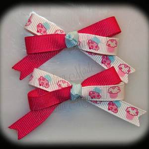 Petite Quad Barrette Hairbow Set Cupcakes Pink