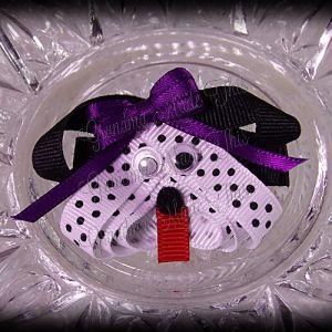 Dalmatian Puppy Ribbon Sculpture Purple Bow