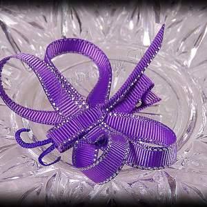 Dragonfly Ribbon Sculpture Purple Silver Glitter Sidestitch