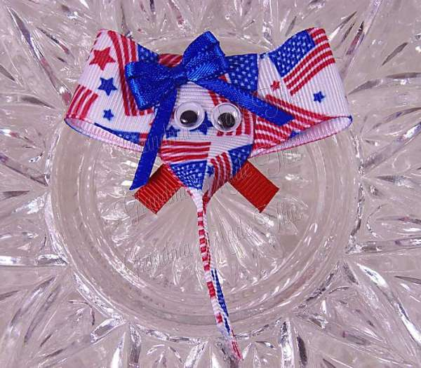 Patriotic July 4th Elephant Ribbon Sculpture Hairclips