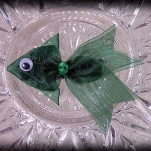 Hunter Green Fancy Tails Fish Ribbon Sculpture Hair Clip