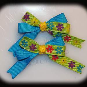 Petite Quad Barrette Hairbow Set Flowers Lime Blue