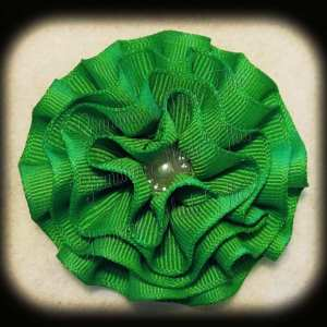 Greens Frilly Flower Hair Bows