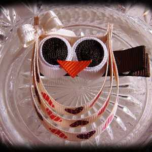 Hearts Ivory Ivory Bow Ribbon Sculpture Owl
