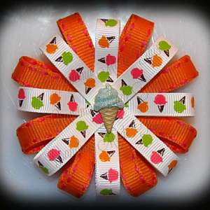 Ice Cream Cones Orange Loopy Flower Bow