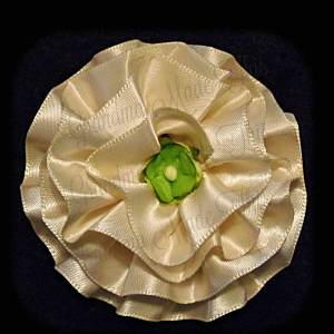 Ivory Satin Frilly Flower Hair Bows